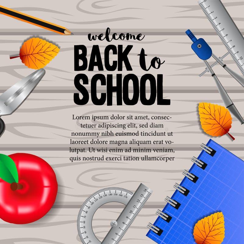 Willkommen zur?ck zu Schule mit station?rem mit Herbstfallbl?ttern auf dem h?lzernen Hintergrund stockbild