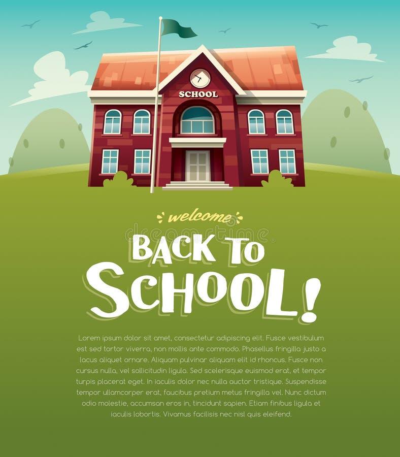 Willkommen zurück zu Schule! Schulgebäude Ausbildung Breiter Kopienraum für Text vektor abbildung