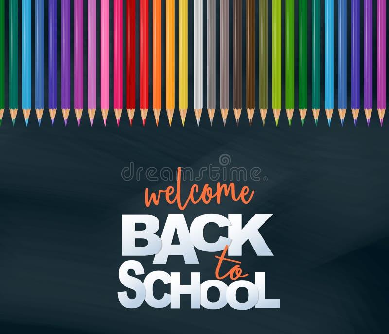 Willkommen zurück zu Schulentwurfskarte mit realistischen bunten Bleistiften vektor abbildung