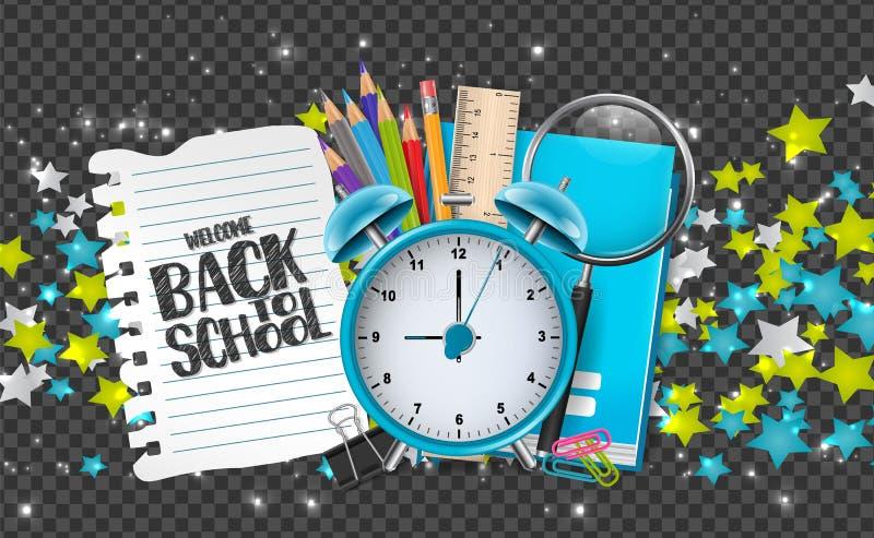 Willkommen zurück zu Schulfahne mit Ausbildungsversorgungen, Sternen und glühenden Partikeln auf transparentem Hintergrund Dekor  stock abbildung