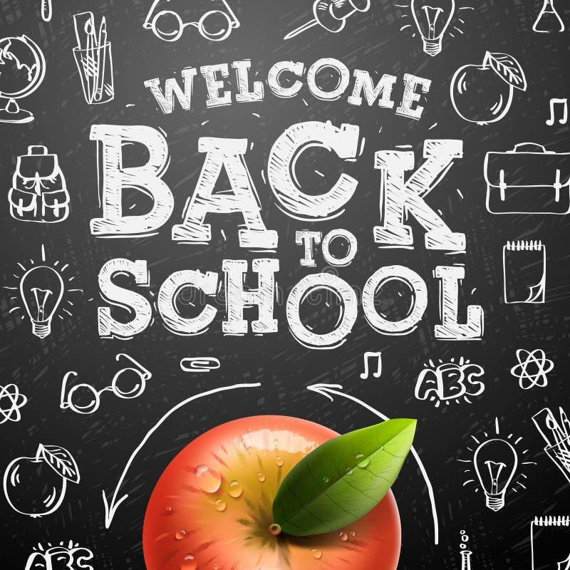 Willkommen zurück zu Schulhintergrund mit rotem Apfel stock abbildung