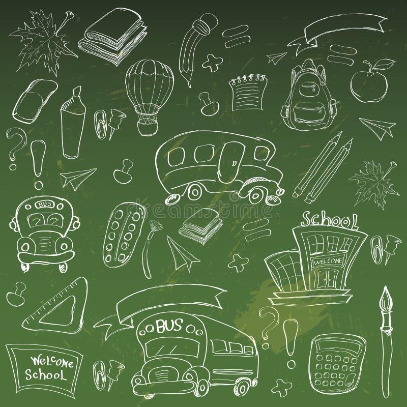 Willkommen zurück zu Schulklassenzimmer liefert Notizbuch-Gekritzel vektor abbildung