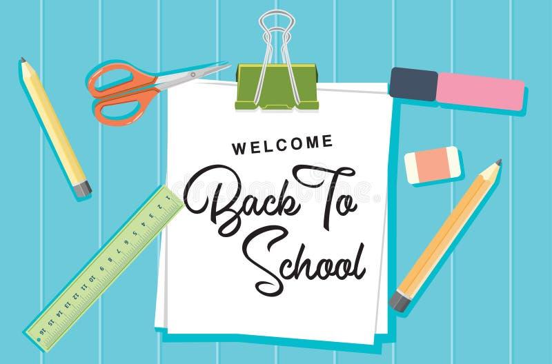 Willkommen zurück zu Schulkonzept-Hintergrund-Vektor-flachem Entwurf lizenzfreie abbildung
