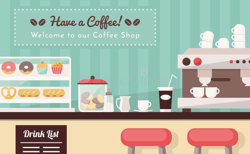 Willkommen zur Kaffeestube lizenzfreie abbildung