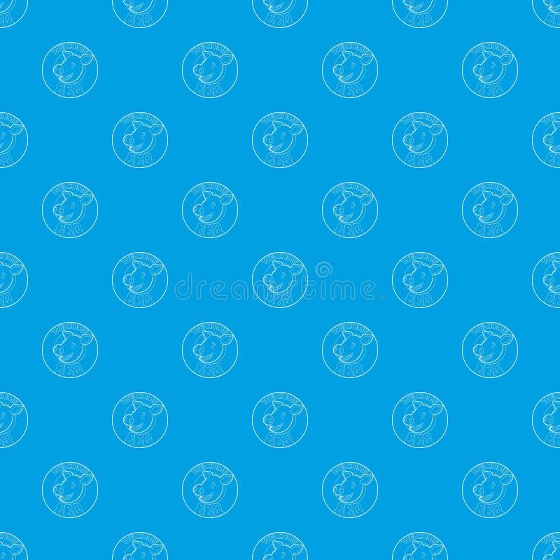 Willkommene Einladung, nahtloses Blau des Musters zu grillen lizenzfreie abbildung
