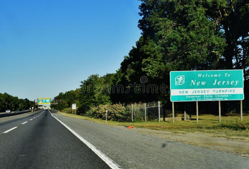 Willkommene New-Jersey Zeichen-USA-Straße lizenzfreie stockbilder