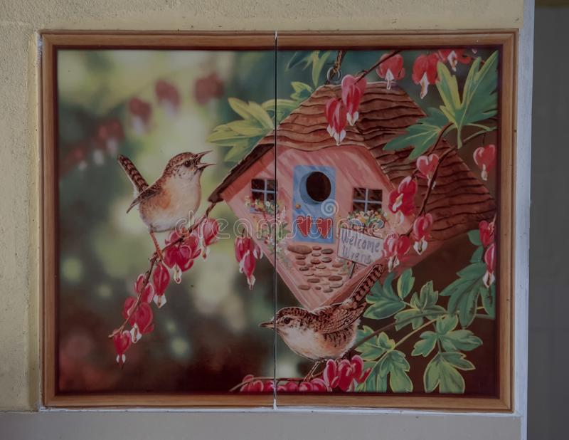 Willkommene Zaunkönigmalerei, Haus Bürgermeisters in Phong Nam, Vietnam stockfoto