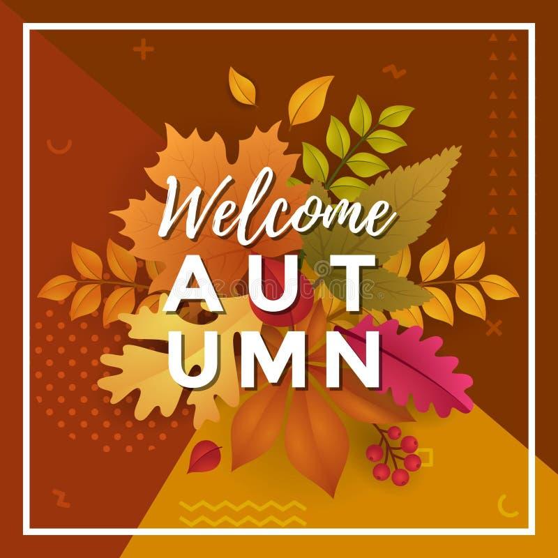 Willkommener Autumn Poster Template Design lizenzfreie abbildung