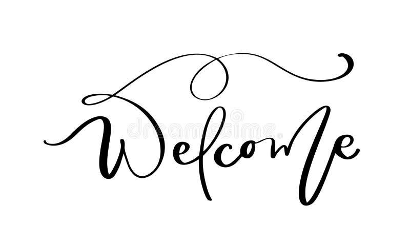 Willkommener Vektor, der Text auf weißem Hintergrund beschriftet Handgeschriebene dekorative Entwurfs-W?rter in den gelockten G?s vektor abbildung