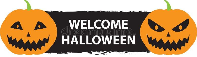 Willkommenes Halloween-Zeichen mit zwei furchtsamen Kürbisen vektor abbildung