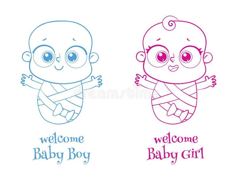 Willkommenes Schätzchen Laden Sie Grußkarte ein, die es ein Junge oder ein Mädchen ist firmenzeichen vektor abbildung