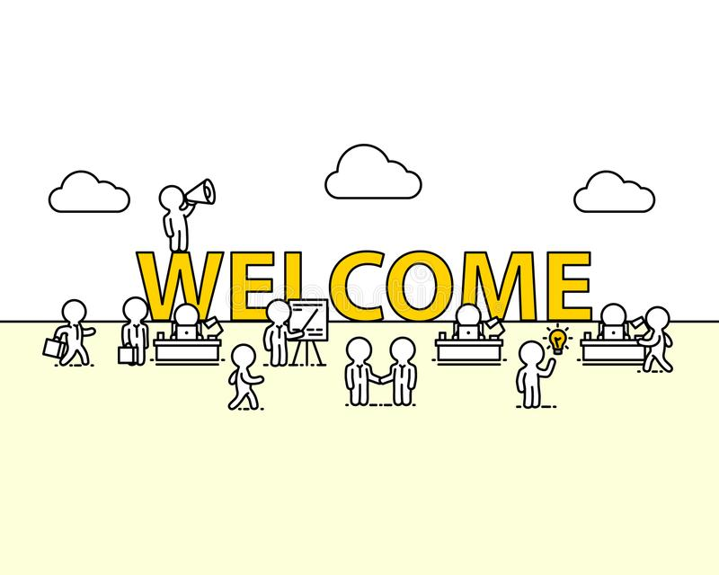 Willkommenes Textarbeitsbüro mit Leuten vektor abbildung