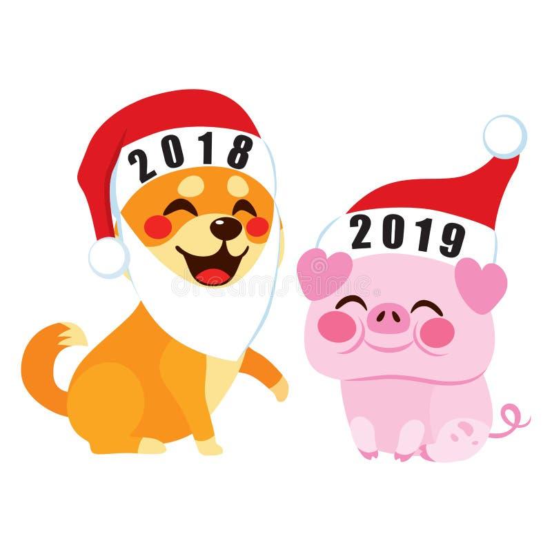 Willkommens-Schwein-Jahr 2019 vektor abbildung
