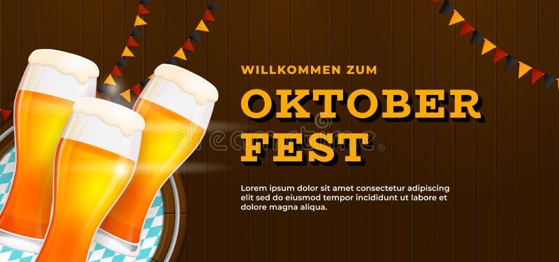 Willlkommen Zum Oktoberfest banner poster template design. Beer glass on wooden wall background vector illustration with germany. Flag ornament. German stock illustration