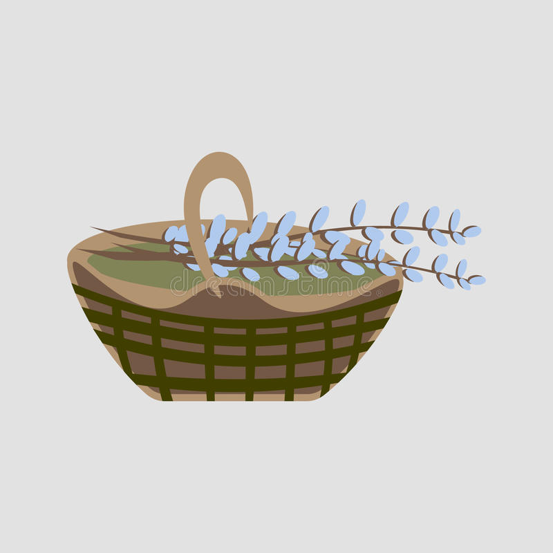 Willow basket. Basket Willow decided to give during Easter stock illustration