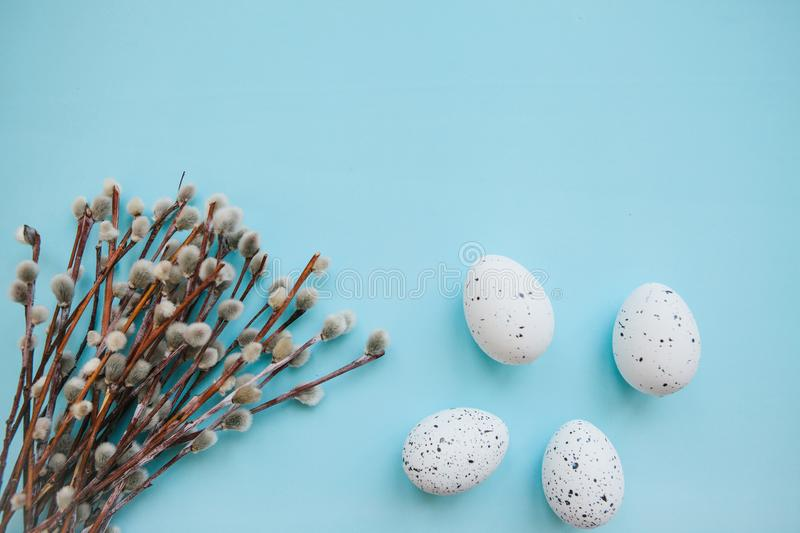 A willow branch and eggs. A willow branch with buds and eggs on a blue background in minimal style. Easter celebration and the beginning of spring concept royalty free stock images