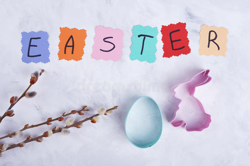 Willow and easter baking mold. royalty free stock images