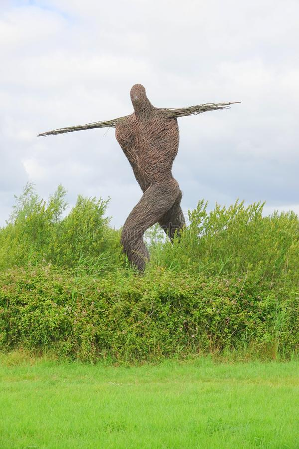 Willow sculpture of walking man. Large sculpture of the Willow Man alongside the M5 Motorway in Bridgwater in Somerset, England royalty free stock photos