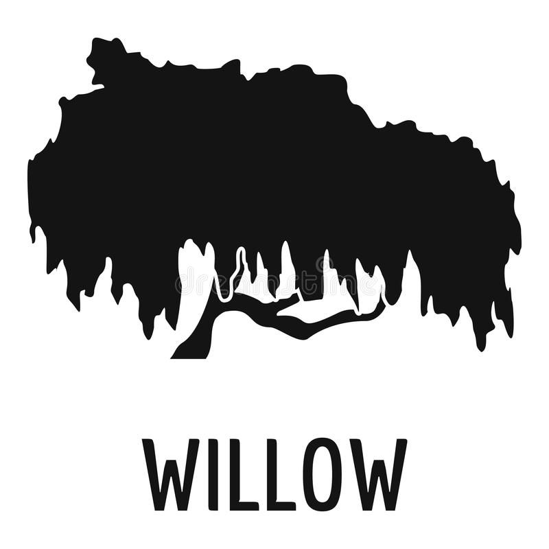 Willow tree icon, simple black style royalty free illustration
