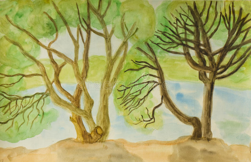 Willow trees, painting stock images