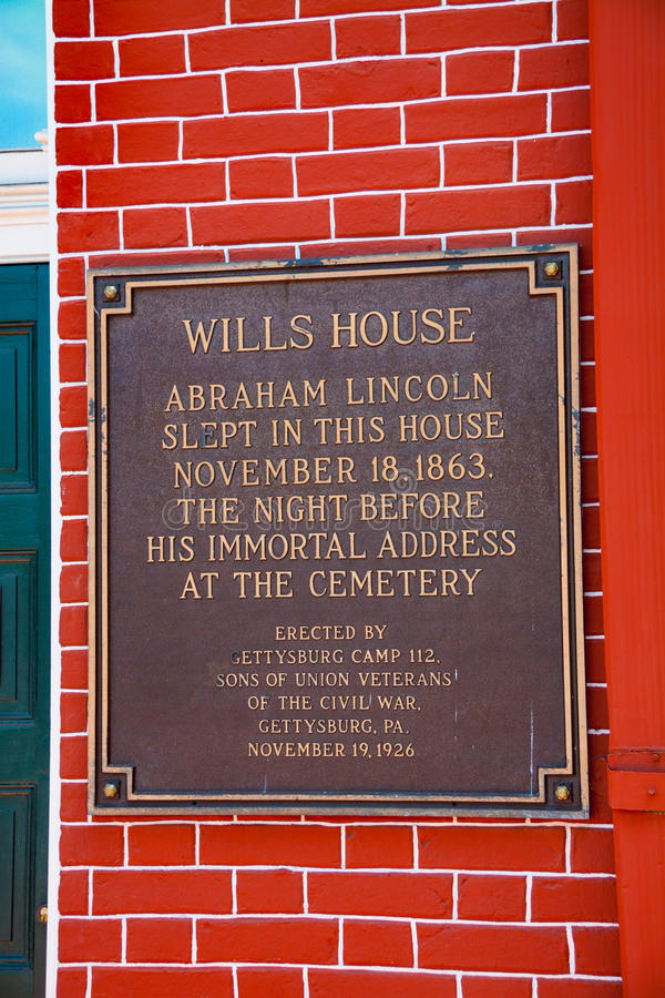 Wills House Plaque. Gettysburg, PA - May 16, 2010: Wills House Plaque marking the place where President Lincoln stayed stock images
