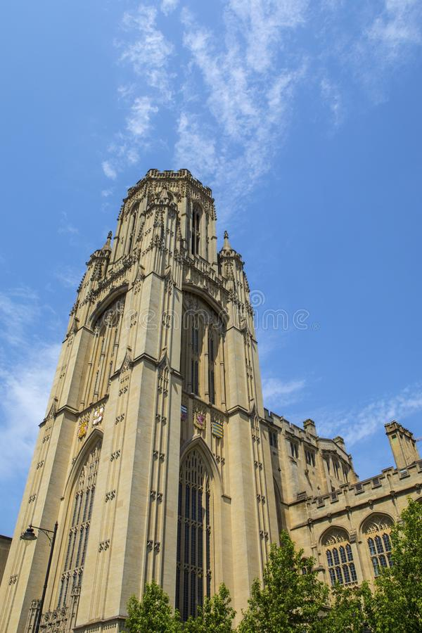 Wills Memorial Building in Bristol. Looking up at the impressive tower of the Wills Memorial Building in the city of Bristol in the UK. The building was designed royalty free stock photography