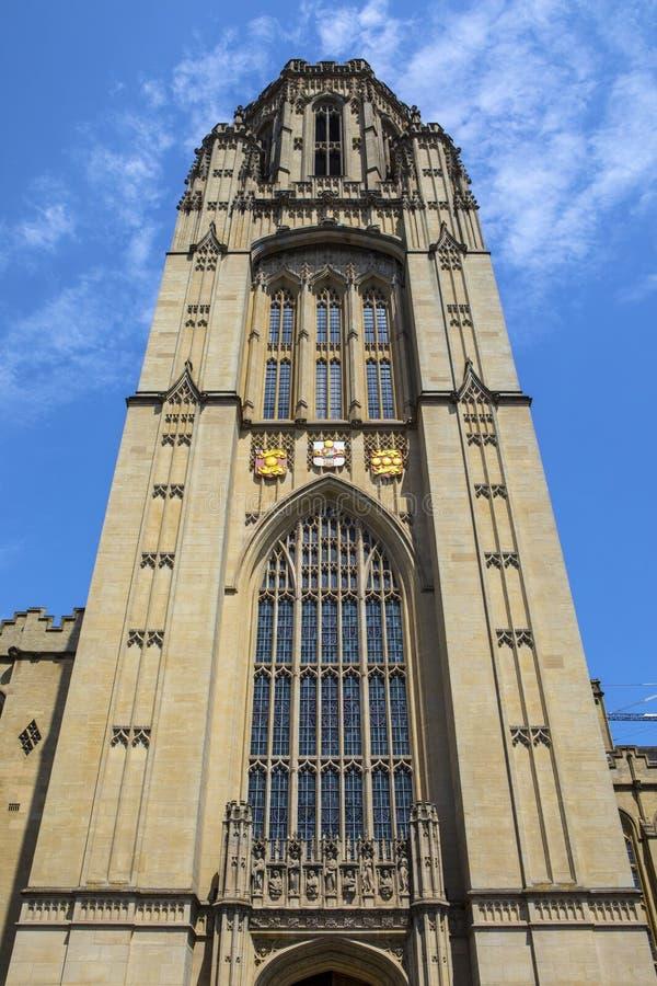 Wills Memorial Building in Bristol. Bristol, UK - June 29th 2019: The tower of the Wills Memorial Building in the city of Bristol in the UK. The building was stock photos