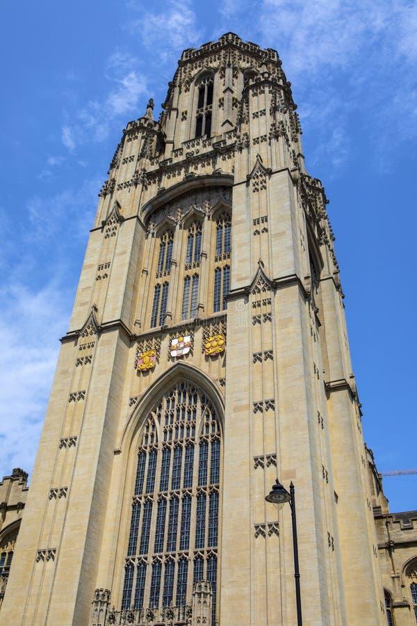 Wills Memorial Building in Bristol. Bristol, UK - June 29th 2019: The tower of the Wills Memorial Building in the city of Bristol in the UK. The building was stock photo