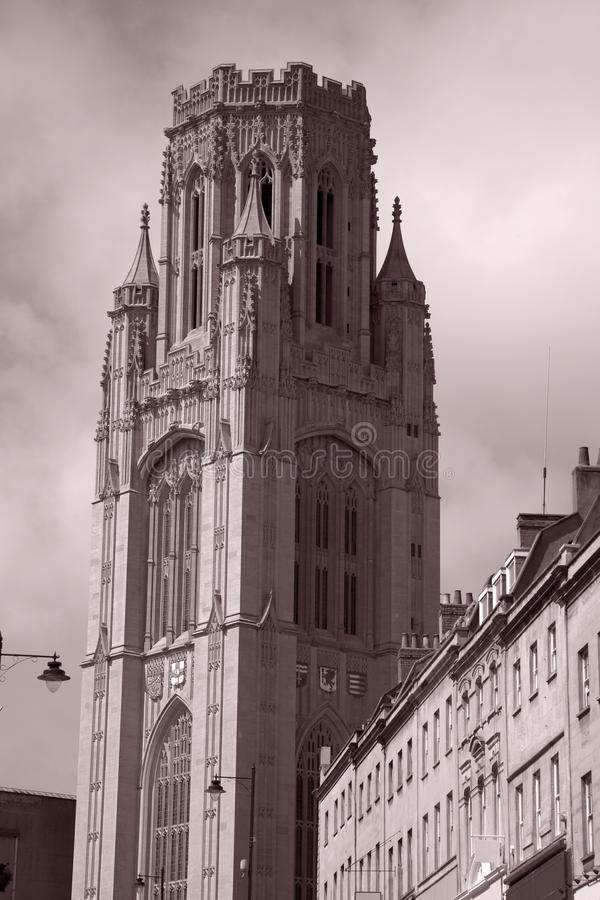 Wills Memorial Building of Bristol Univeristy. And Park Street, Bristol, England, UK stock photos