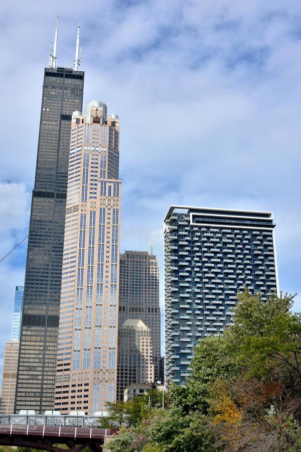 Wills Tower and city buildings of Chicago. Wills Tower and city view of Chicago city. Photo taken on: October 6th, 2014 stock photo