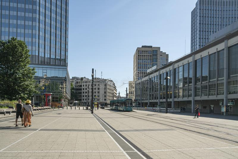 Willy Brandt kwadrat w Frankfurt obrazy stock