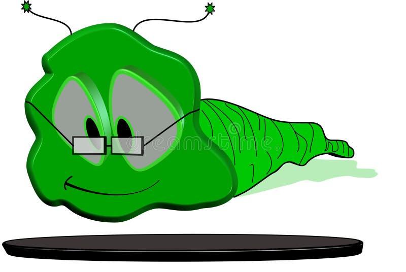 Willy wormkarakter in 3d royalty-vrije illustratie