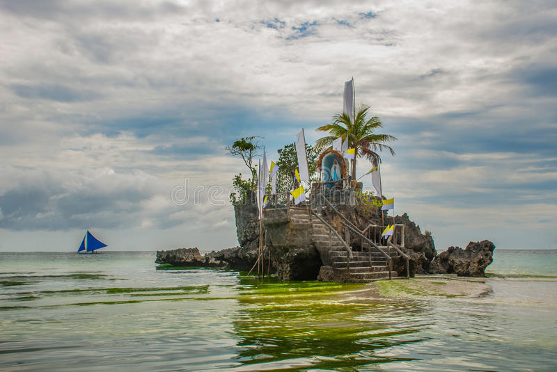 Willys Rock, situated on the famous White Beach, Boracay Island, Philippines stock image