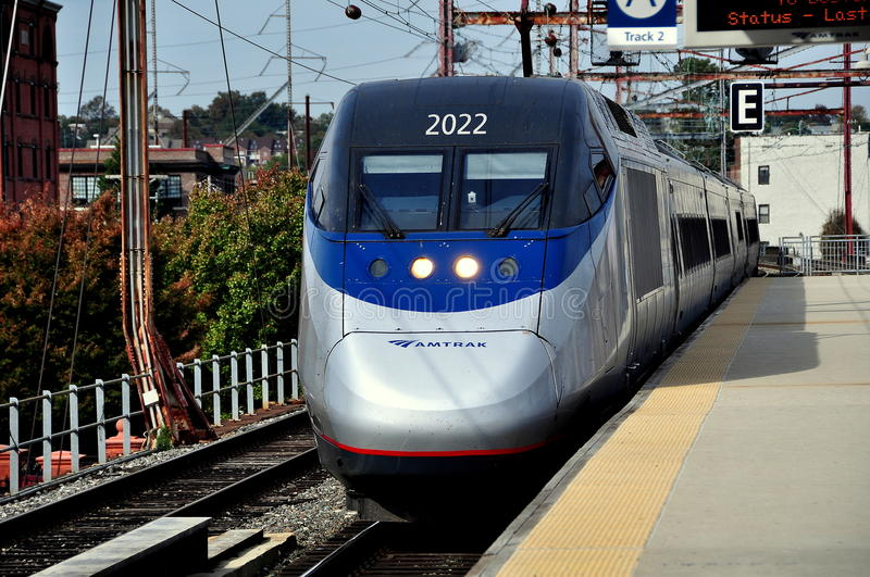 Wilmington, DE: AMTRAK Acela Train. Wilmington, Delaware: AMTRAK's express Acela Train #2160 arriving on Track 2 at the Wilmington Train Station stock photography