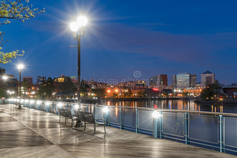 Wilmington Delaware Riverfront at Night. Wilmington Delaware skyline along the Riverfront at night along the Christiana River royalty free stock photo