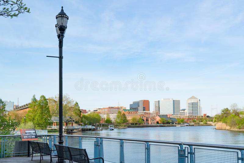 Wilmington Delaware Waterfront. Wilmington Delaware skyline and waterfront along the Christiana River stock photos