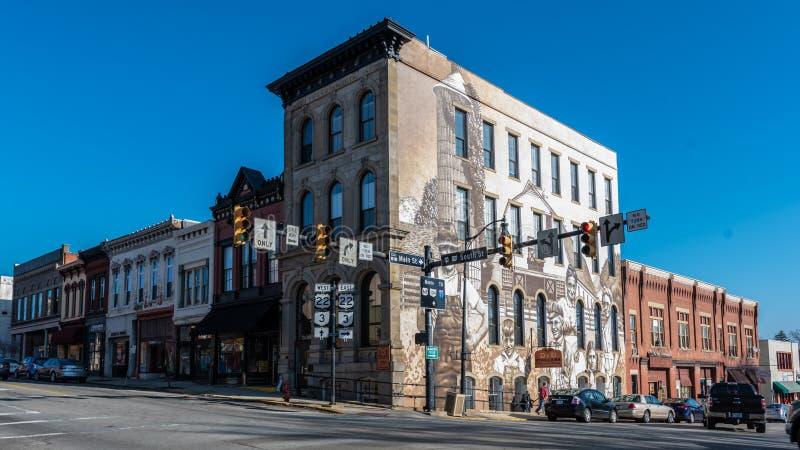Wilmington du centre, OH avec la peinture murale de moissonneuses d'héritage photographie stock