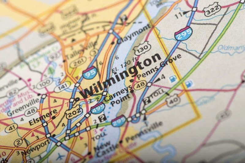 Wilmington no mapa imagens de stock royalty free