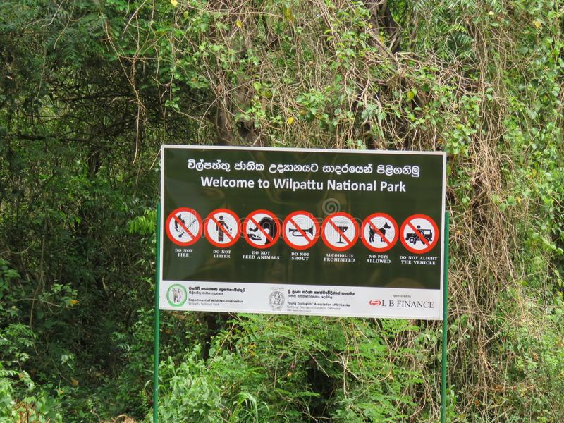 Wilpattu National Park Sri Lanka Signboard. Wilpattu National Park Signbaord. The park is located at Puttalam Sri Lanka royalty free stock photos