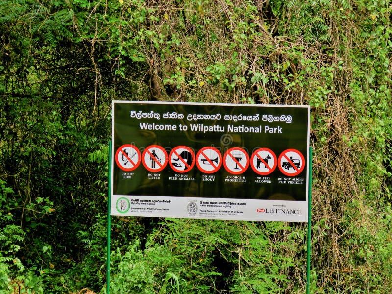 Wilpattu parka narodowego Sri Lanka Signboard obraz stock
