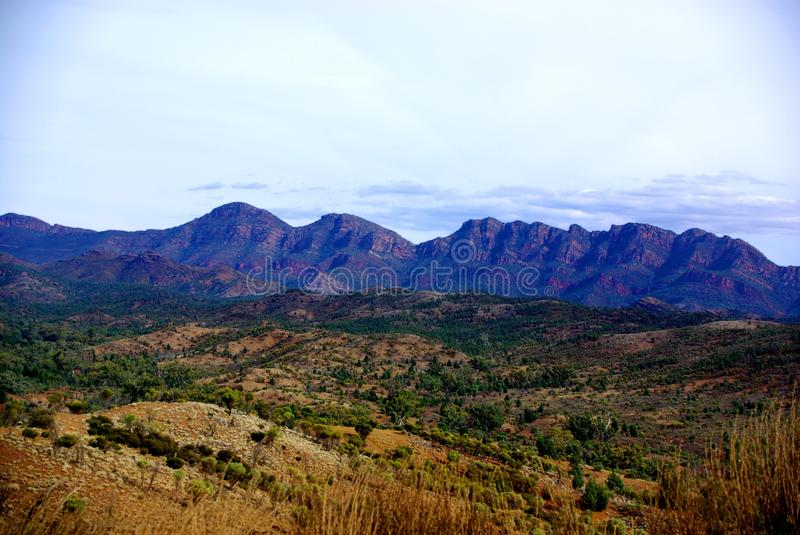 Wilpena Pound, Flinders Ranges. Part of the iconic Wilpena Pound in South Australia's Flinders Ranges, photographed from a ridge at Bunyeroo Gorge. The hills are stock photo