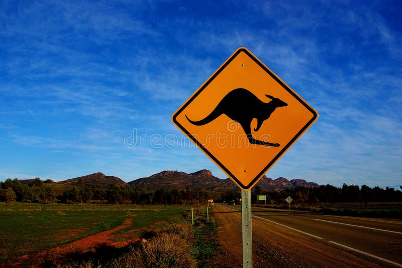 Wilpena Pound Kangaroo Sign. An iconic kangaroos sign on the road to Wilpena Pound. Wilpena Pound is rising out of the South Australian outback in the background stock photo