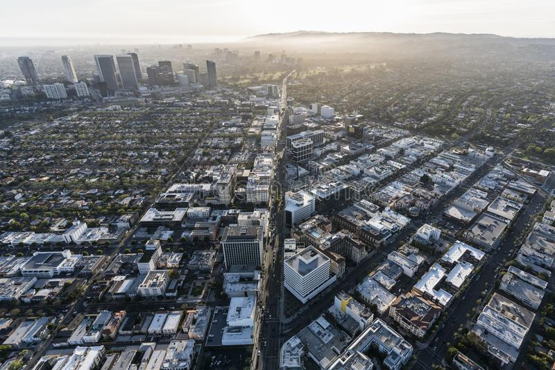 Wilshire Blvd Beverly Hills California Aerial stock afbeelding