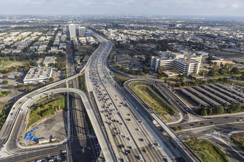 Wilshire Blvd Ramps to the San Diego 405 Freeway in West Los Angeles. Los Angeles, California, USA - August 6, 2016: Aerial view of Wilshire Blvd ramps to the royalty free stock photography