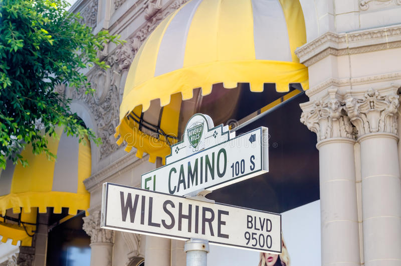 Wilshire boulevardtecken, Beverly Hills arkivbild