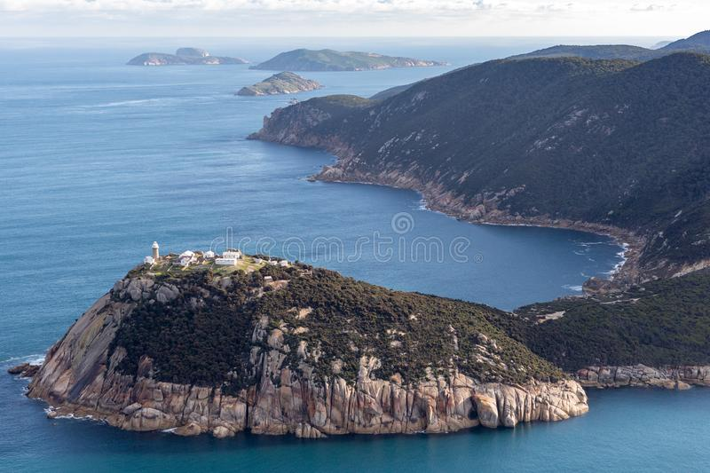 Wilsons Promontory National Park Lighthouse aerial photograph stock image