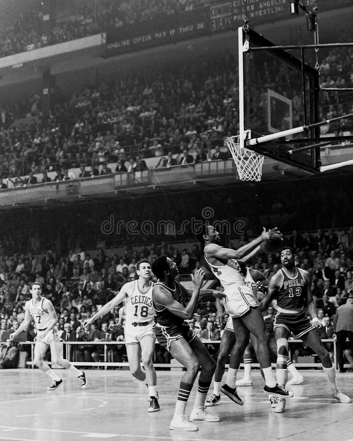 Wilt Chamberlain et les 76ers de Philadelphie photo stock