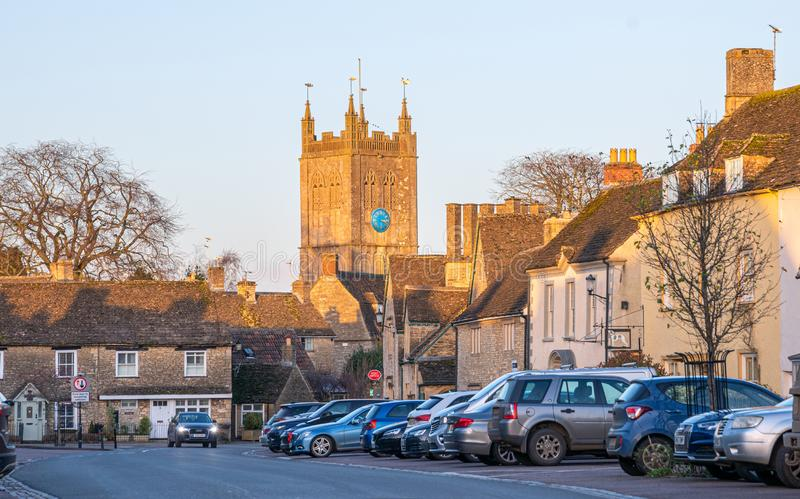 The Wiltshire village of Sherston, England, United Kingdom. The Wiltshire village of Sherston and the Church of the Holy Cross, England, United Kingdom stock photo