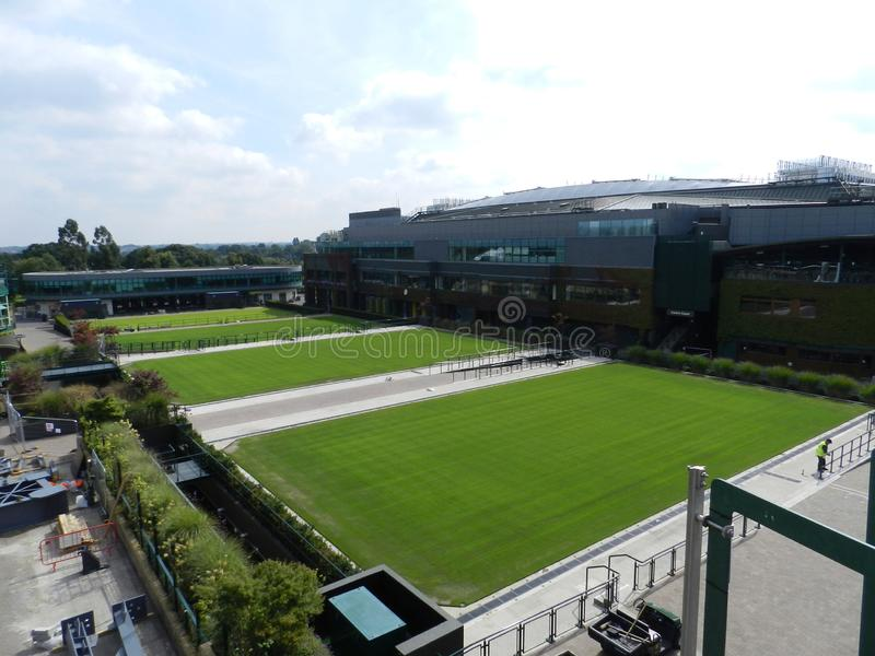 Practice grass courts and Centre Court. All England Lawn Tennis and Croquet Club. Wimbledon, United Kingdom. stock image