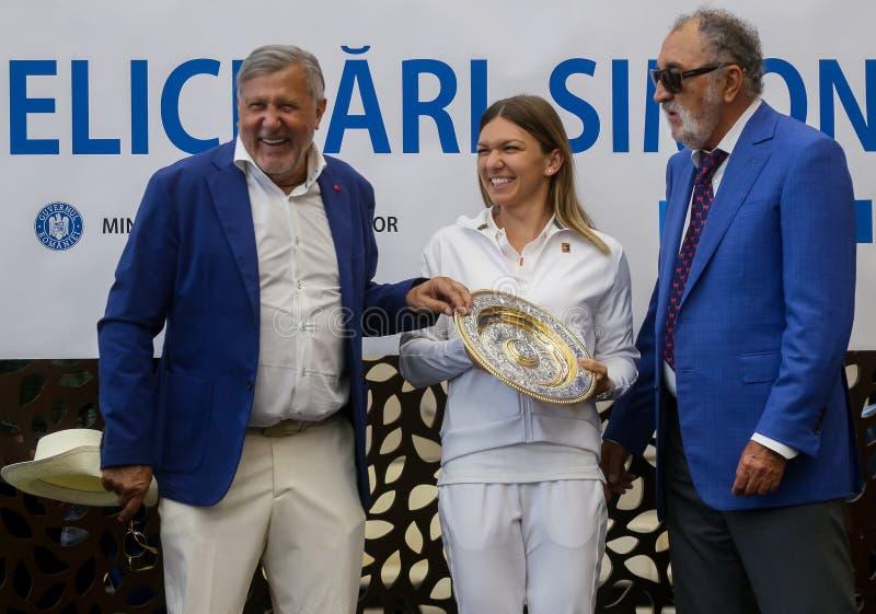 Wimbledon zwycięzca Simona Halep - przyjazd w Rumunia zdjęcie royalty free